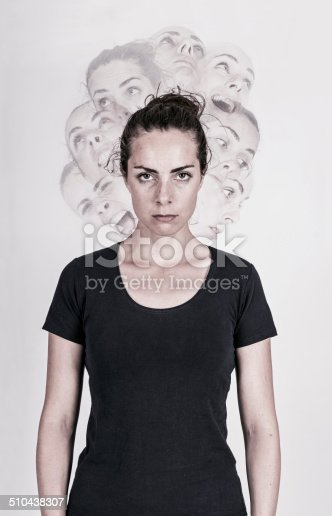 Schizophrenic woman with several faces