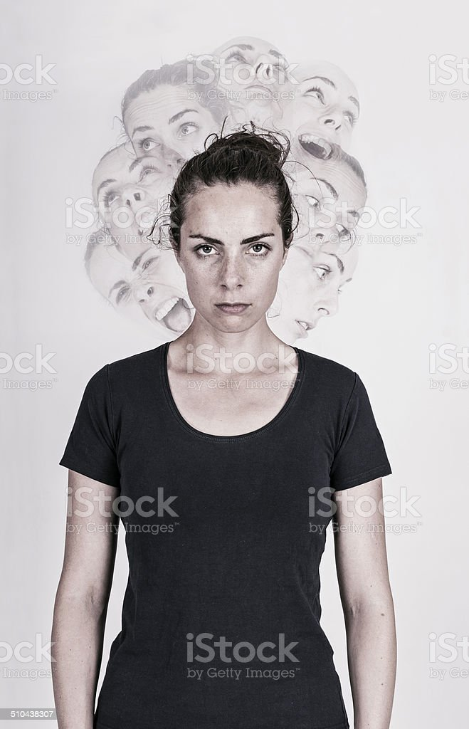 Schizophrenic woman stock photo