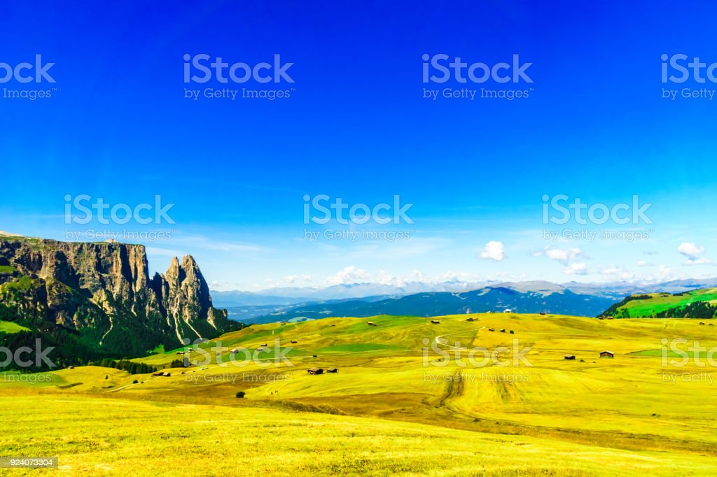 Schlern mountain and Seiser mountain pasture in South Tyrol stock photo