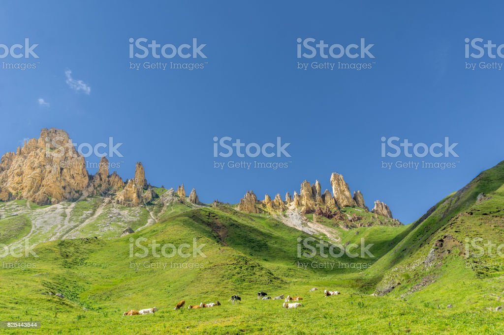 Schlern mountain landscape in South Tyrol stock photo