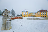 Schloss Hof, Austria - February 20, 2017:Schloss Hof is a baroque palace in Lower Austria, which privious owners include Prince Eugene of Savoy and Maria Theresia,with falling snow.
