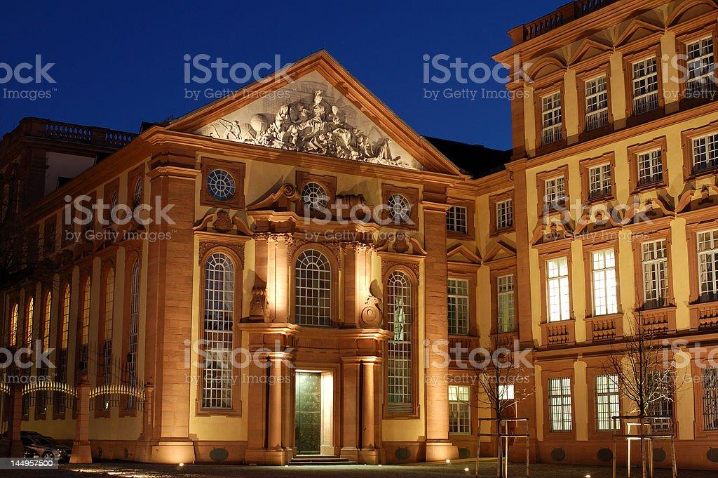 Schloss Mannheim at dusk stock photo