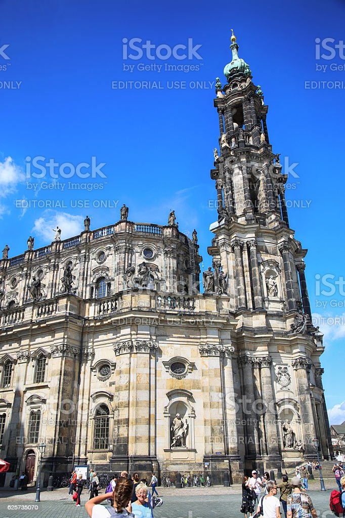 Schlossplatz, Katholische Hofkirche in Dresden Germany stock photo