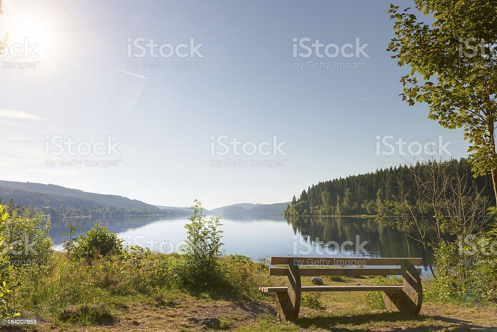 Schluchsee - with bench, Germany stock photo