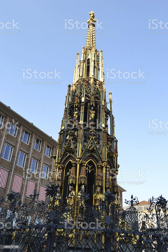 Schöner Brunnen on the Hauptmarkt in Nuremberg royalty-free stock photo
