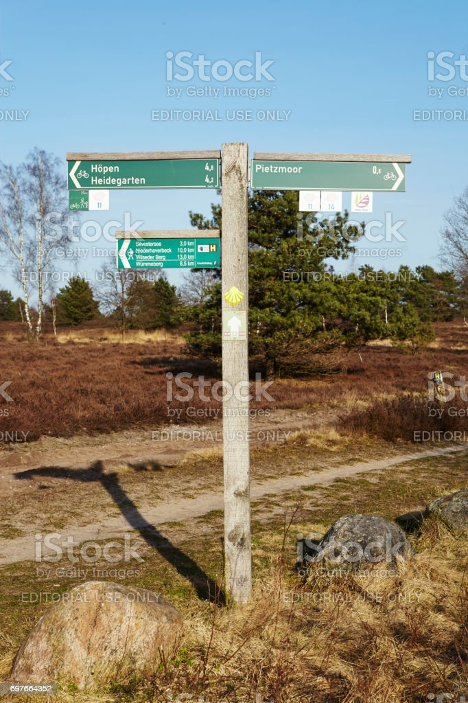 Schneverdingen (Germany) - Guidepost in the Luneburg Heath stock photo