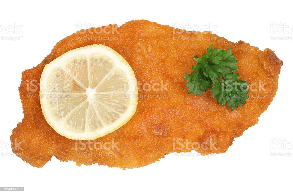 Schnitzel chop cutlet with lemon from above stock photo