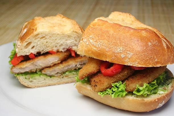 Schnitzel Sandwich stock photo