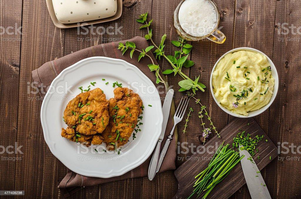 Schnitzel with herbs, stock photo
