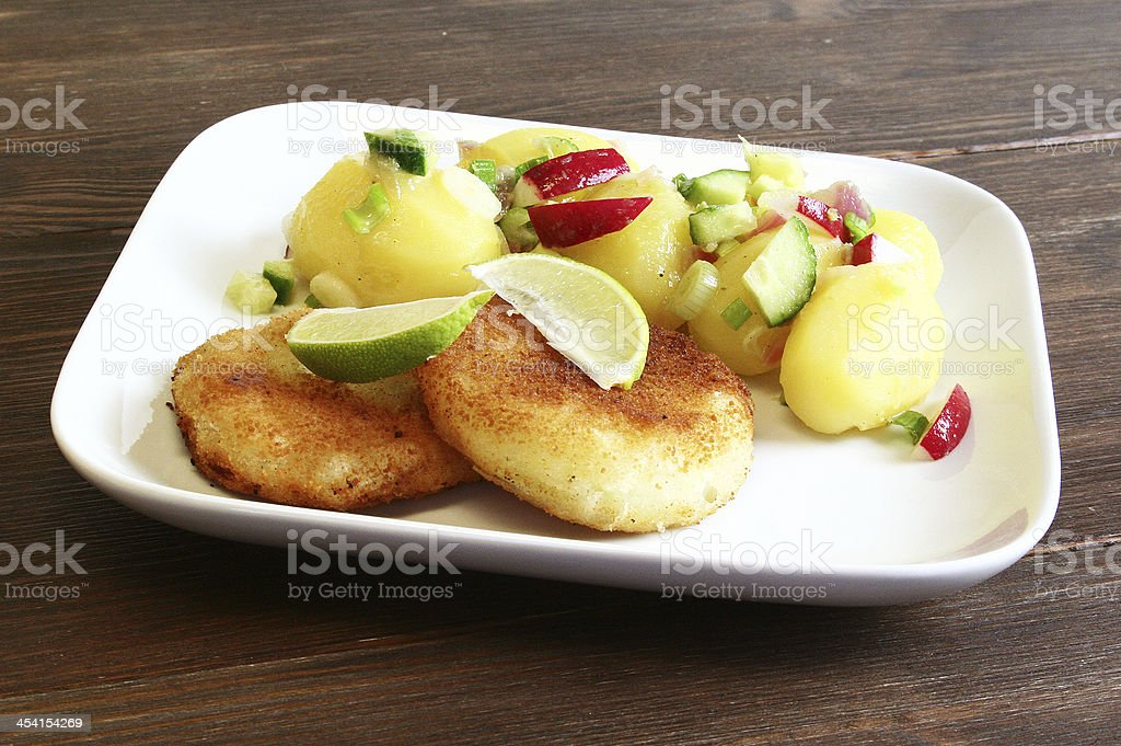 Schnitzel with Potato Salad royalty-free stock photo