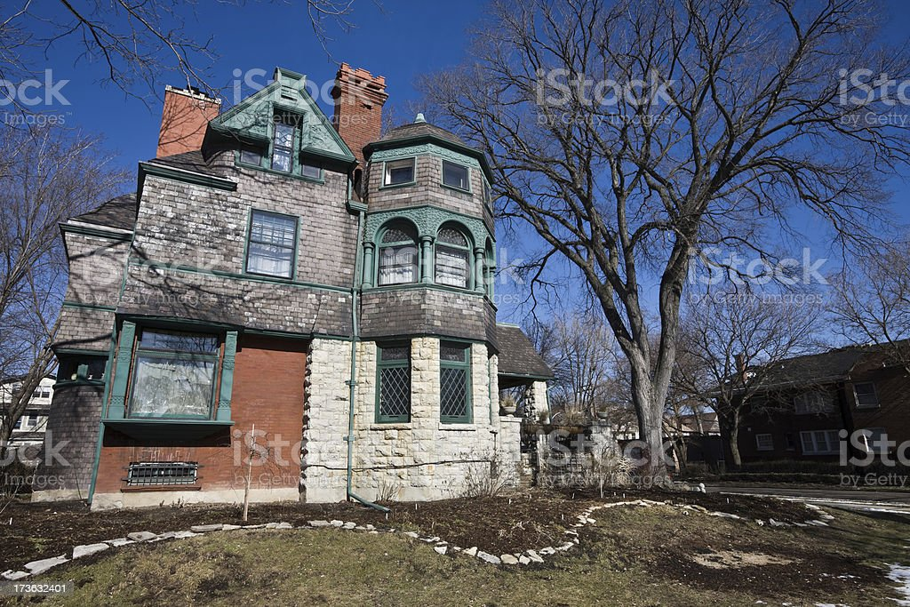 Schock House. Victorian Mansion Chicago West Side royalty-free stock photo