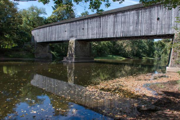 Schofield Ford Bridge in Bucks County, Pennsylvania, USA. stock photo