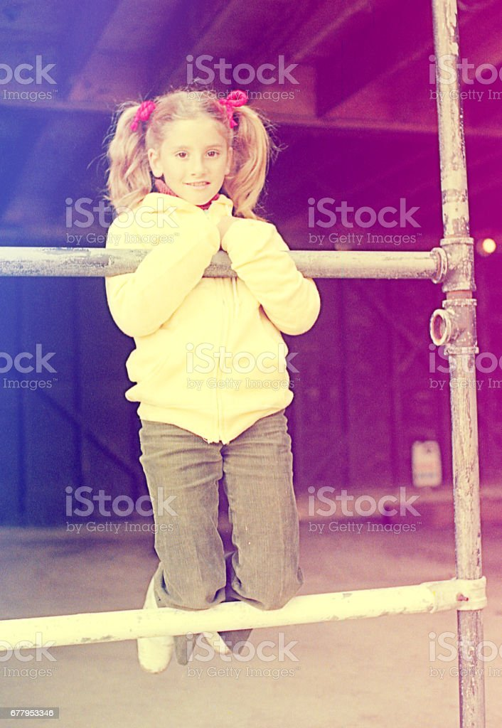Scholar girl playing outside royalty-free stock photo