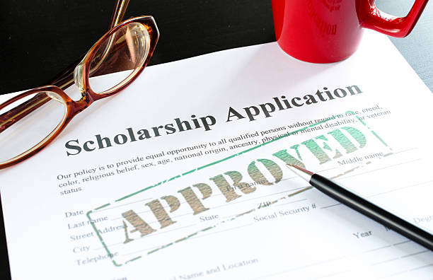 scholarship application - approved stock photo