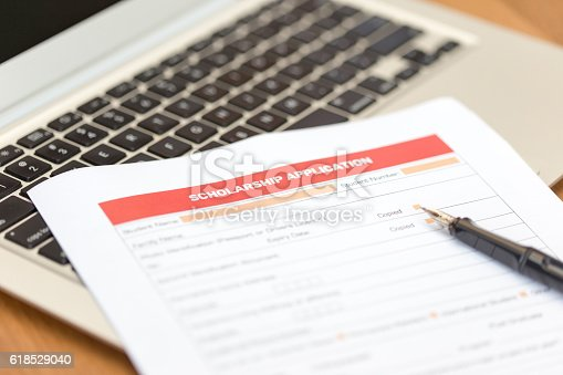 istock Scholarship Application Form on Desk 618529040