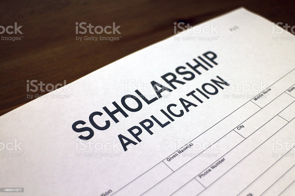 Scholarship Application Form stock photo