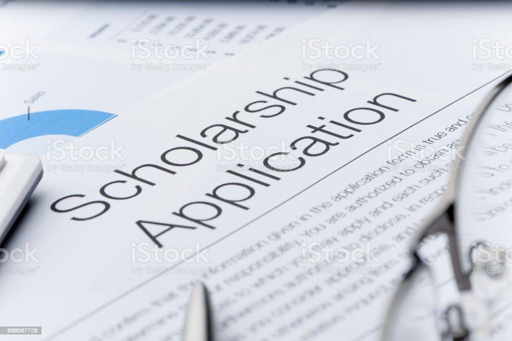 Scholarship application form. stock photo