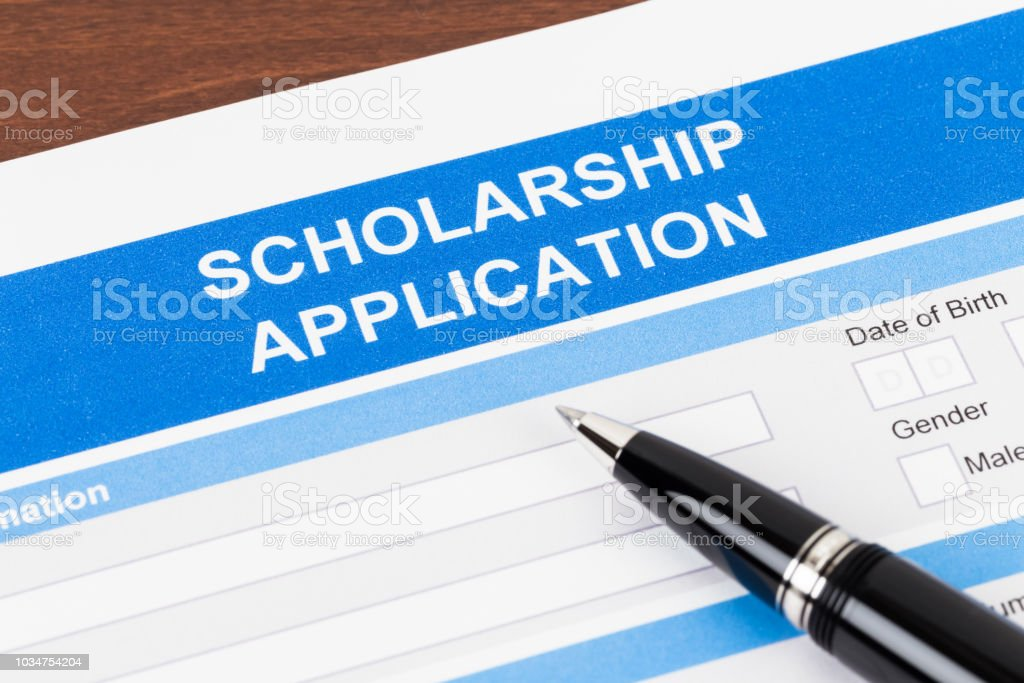 Scholarship application form with pen stock photo