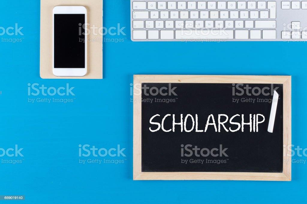 Scholarship Concept on Chalkboard stock photo