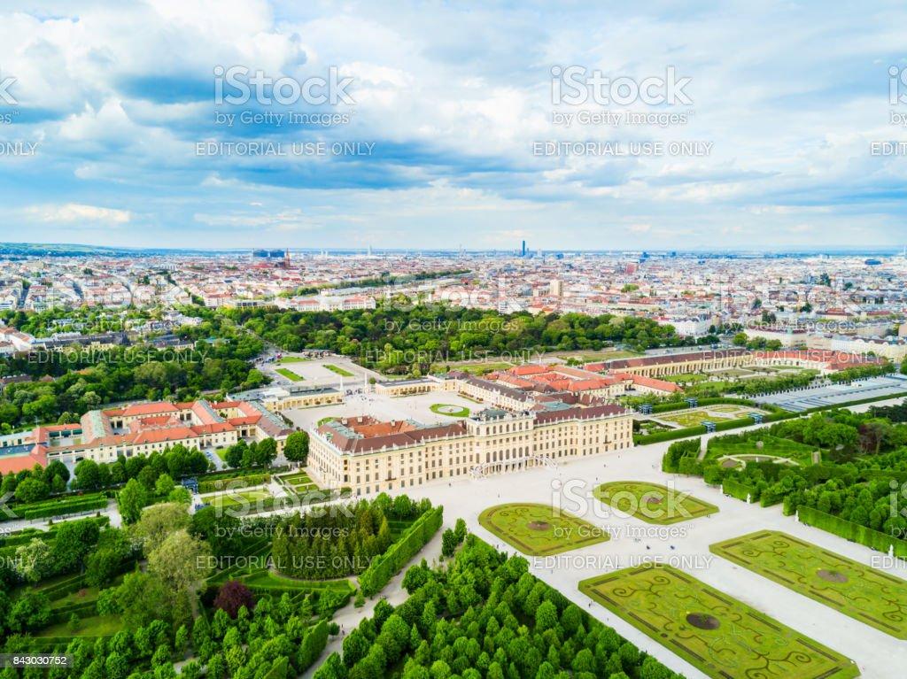 Schonbrunn Palace aerial, Vienna stock photo