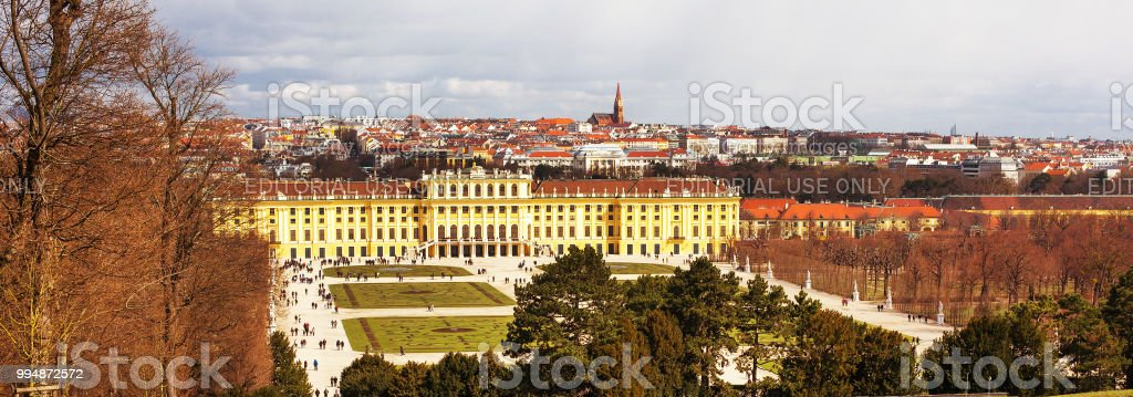 Schonbrunn Palace view and Vienna skyline panorama, Austria stock photo