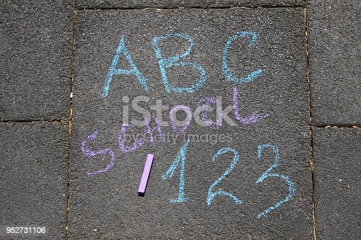 istock School, ABC letters and 123 sigh written with colored chalks on a pavement. Drawing Back to school on an asphalt. and vacation concept. Education concept. School and fun time. 952731106