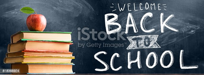 istock School accessories against blackboard 818366924
