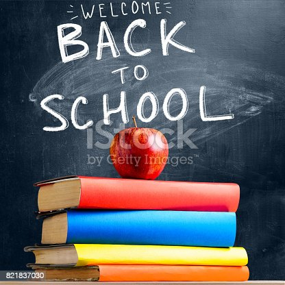 istock School accessories against blackboard 821837030