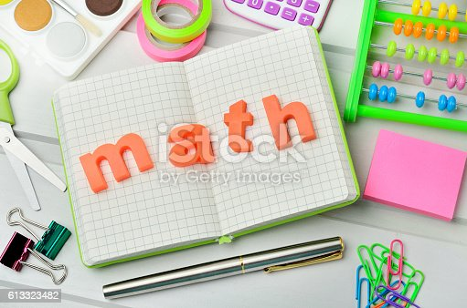 istock School accessories on table 613323482