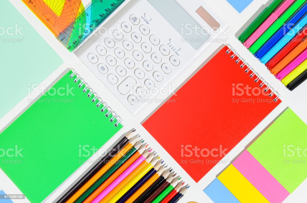 School accessories on white stock photo