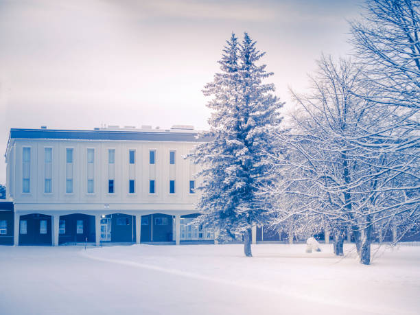 A school after a storm. stock photo