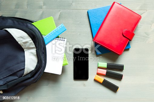 istock School and learning concept. Backpack with school supplies and smartphone 903412918