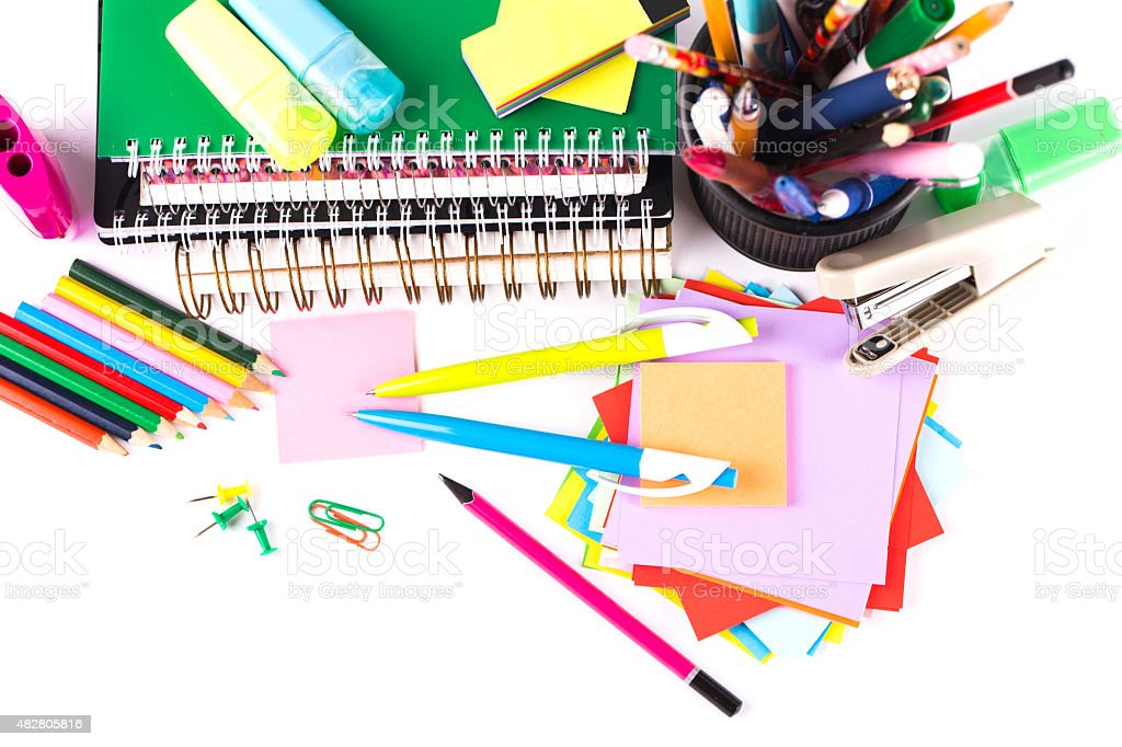 School and office accessories on white background stock photo