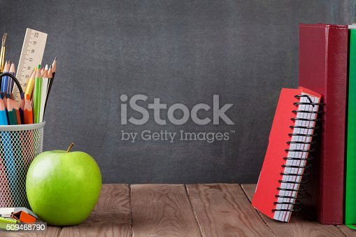 istock School and office supplies and apple 509468790