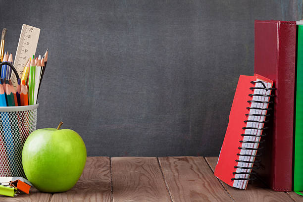School and office supplies and apple stock photo