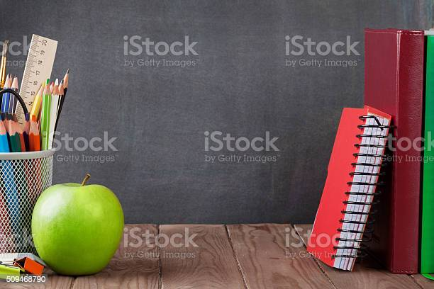 School And Office Supplies And Apple Stock Photo - Download Image Now