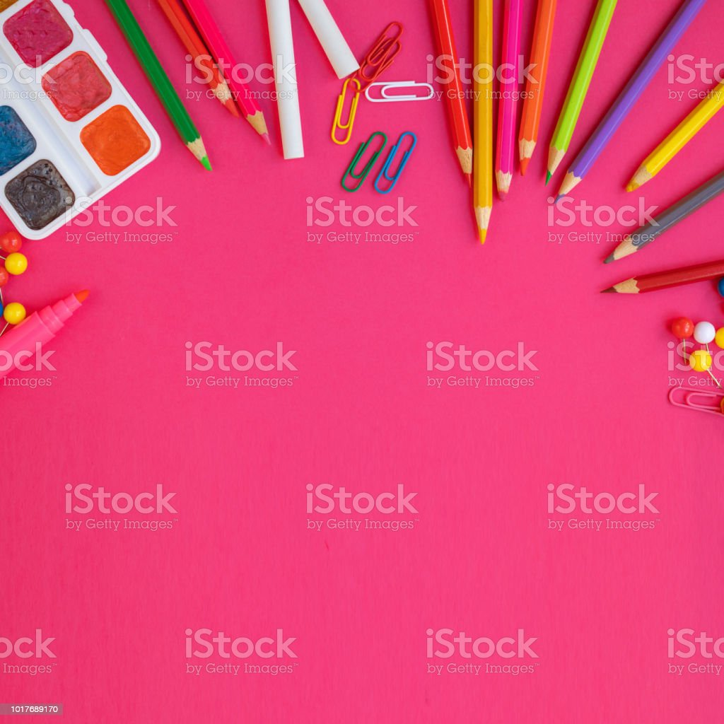School and office supplies  on  pink  background, top view. Back to school. Flat lay, copy space'n stock photo