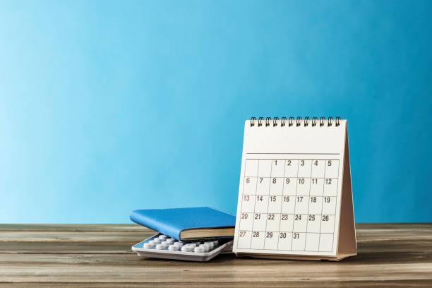 school and office supplies. - calendar stock photos and pictures