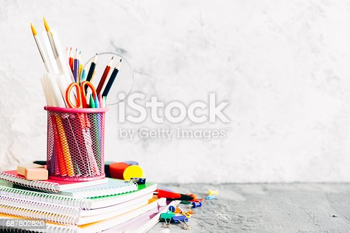istock School and office supplies. Stationery on white background. 687802820