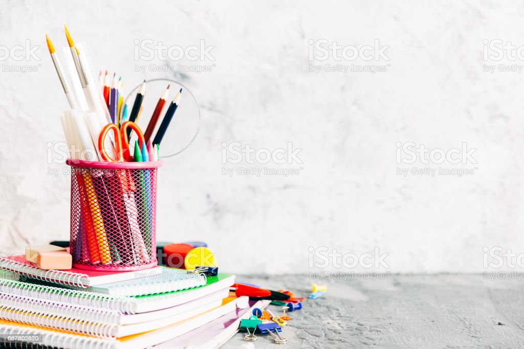 School and office supplies. Stationery on white background. stock photo