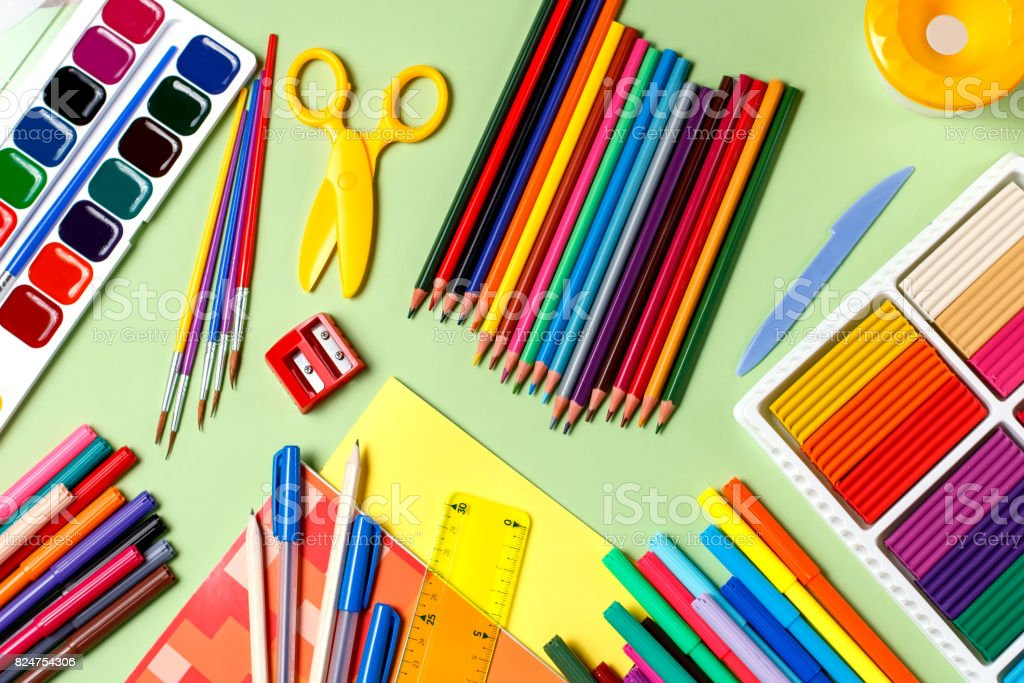 School background. Various school supplies on a desktop, copy space stock photo