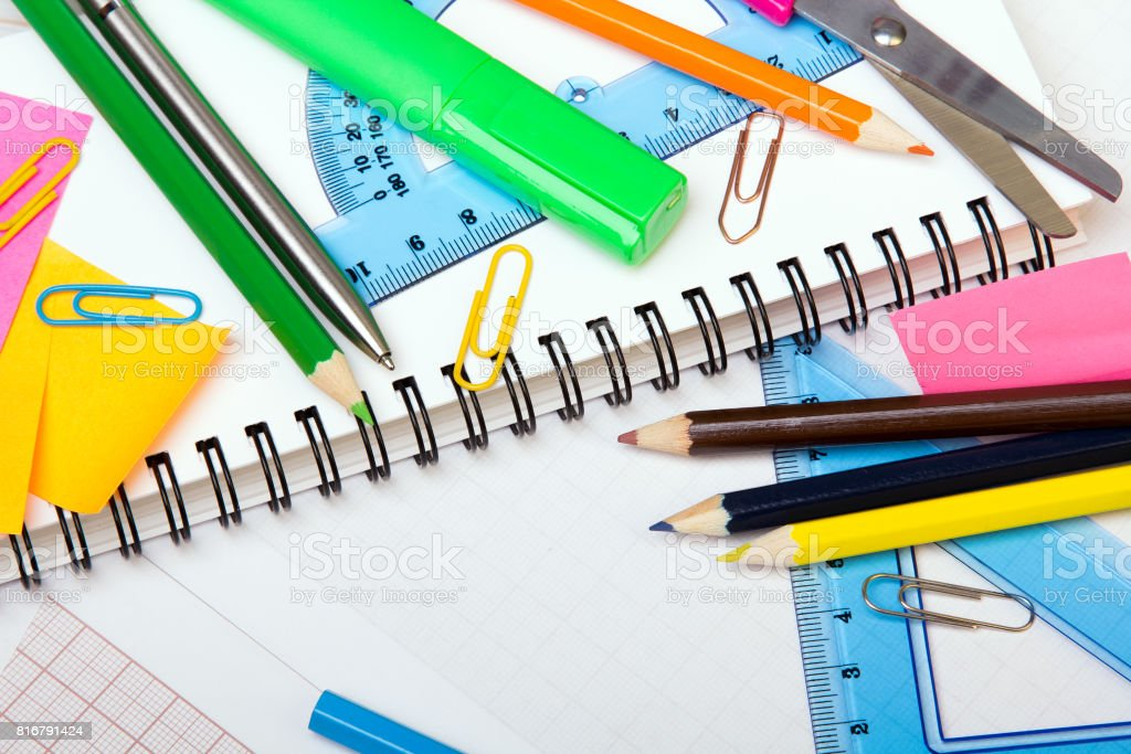 School Background With Colorful Accessories Frame Stock Photo More
