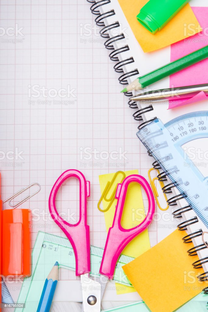 School background with colorful accessories frame stock photo