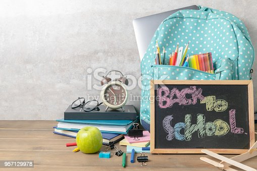 istock School backpack and back to school text 957129978