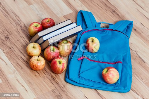 istock school backpack, apples and books, top view 985609804