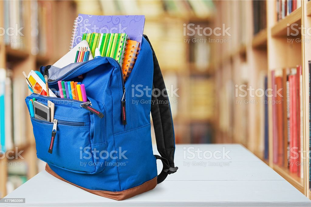 School, backpack, back stock photo