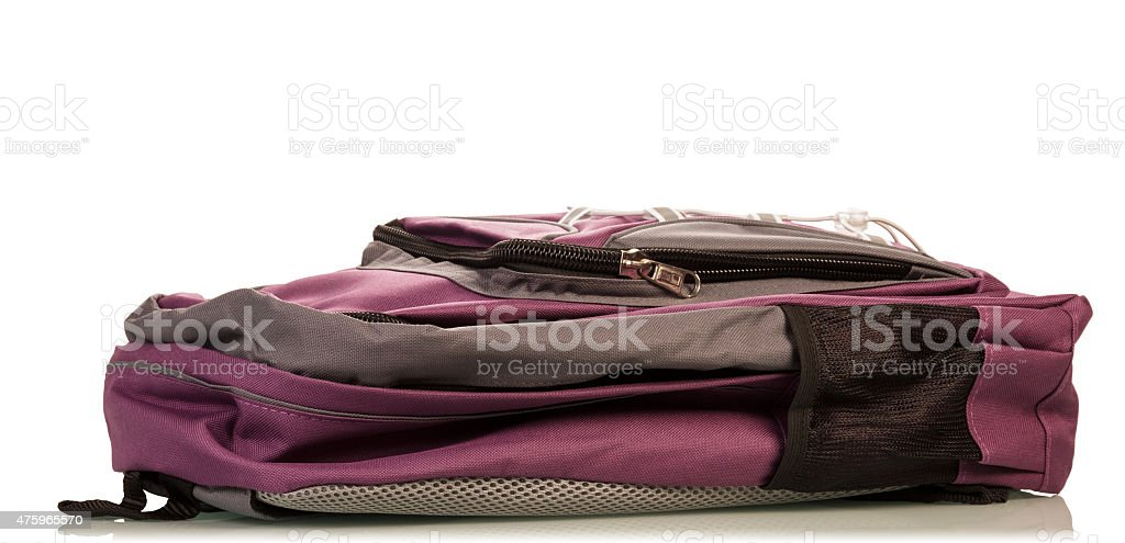 School backpack on white stock photo