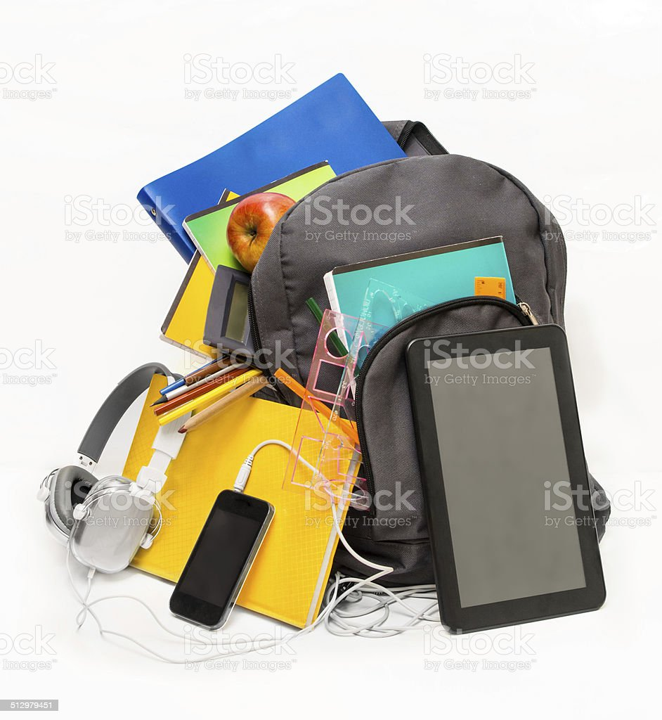 School backpack with school supplies and a tablet with headphon stock photo