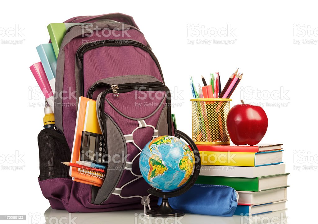 School Backpack with school supplies stock photo