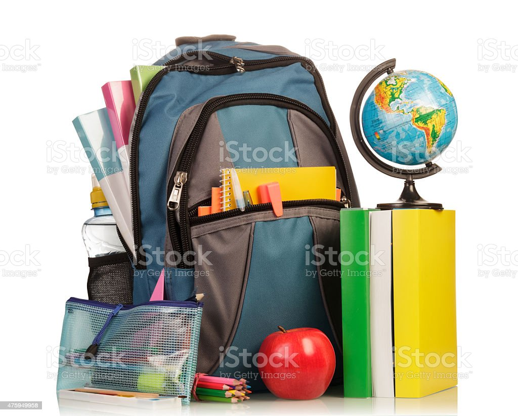 School Backpack with supplies stock photo